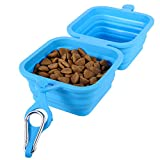 bowsugar Collapsible Dog Bowl, 2 in 1 Foldable Silicone Dog Food Bowl for Dog Puppy Pet Cat, Travel Silicone Dog Cat Bowl Portable Drinking Water Drinker with Water Hook,1240ml/40oz (Blue)