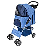 vidaXL Folding Pet Stroller Dog/Cat Travel Carrier Blue Transport Trolley
