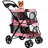 LOVEPET Lightweight Folding Double Pet Stroller Dog Large Space Cart Cage Four Wheel Outdoor Travel Supplies,Pink