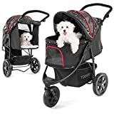 TOGfit Pet Roadster - Luxury Pet Stroller for Puppy, Senior Dog or Cat | Easy Foldable Three Wheels Travel Pet Jogger max. loading 32 kg, Mattress included - Black