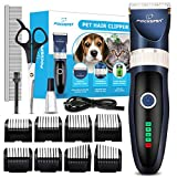 Focuspet Dog Clippers,Low Noise Dog Grooming Clippers Rechargeable Cordless Dog Trimmer Pet Grooming Tool Kit Professional Dog Hair Trimmer with 8 Comb Guides Scissors for Dogs Cats Other Animals