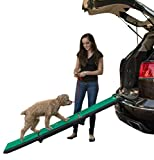 Pet Gear Travel Lite Ramp with supertraX Surface for Maximum Traction, 4 Models to Choose from, 42-71 in. Long, Supports 150-200 lbs, Find the Best Fit for Your Pet, Black/Green
