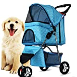 WXLSQ Pet stroller, extra long premium heavy dog/cat/station wagon, foldable carrier with durable wheels suitable for small and medium pets,Blue
