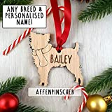 My Pretty Little Gifts Personalised Oak Wooden Dog Bauble Decoration - Christmas Tree gift present - Various Animal Pet Breeds