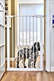 Callowesse© Extra Tall 110cm Dog Gate 75-82cm, Quality Pressure Fitted with 2 Stage Safety Catch and Bottom Security Stop. Metallic Black, Strong Gate Suitable for Big Dogs
