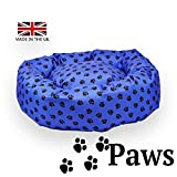 Paws – Waterproof Donut Bed. Very tough, easy to clean dog den. PET PALLET UK MANUFACTURER (Blue with Black paws, medium 30' diameter)