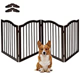 COSTWAY 4 Panel Folding Pet Gate with Support Feet and Arched Top, Wooden Dogs Cats Freestanding Barrier, Portable Pet Safety Fence Expands up to 204cm Wide