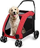 amzdeal Dog Stroller Pet Pushchair for Big Dogs 4-Wheeled Pet Travel Stroller Dog Trolley Max Load 60kg Weight, Foldable and Durable, Red