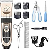 Sminiker Pet Grooming Clippers Low Noise Dog Clippers Cordless Pet Clippers Rechargeable Pet Hair Shaver Professional Electric Clippers Grooming Trimmer Kit for Small Medium Large Pets