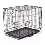 COZY PET Dog Cage 24' Black ABS Tray Folding Puppy Crate Cat Carrier Dog Crate DCP24B (We do not ship to Channel Islands.)